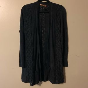 Bellini knit dark gray  cardigan sweater size M